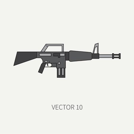 라인 플랫 컬러 벡터 군사 아이콘 - 기관총. 육군 장비와 무기. 만화 스타일입니다.