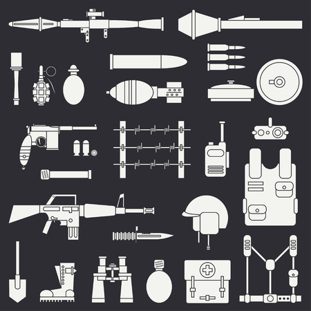 Silhouette. Line flat vector military icon set. Army equipment and weapons. Cartoon style.