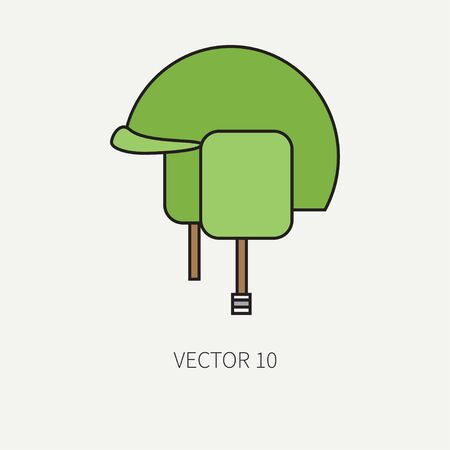 arming: Line flat color vector military icon - army helmet. Army equipment and weapons. Cartoon style. Assault. Soldiers. Armament. Ammunition. Vector illustration and element for your design and wallpaper.