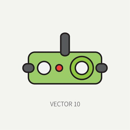 Line flat color military icon - night-vision device. Army equipment and weapons. Cartoon style. Assault. Soldiers. Armament. Ammunition. Vector illustration and element for your design and wallpaper.