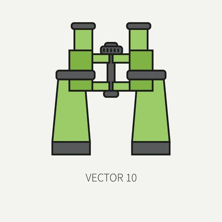 arming: Line flat color vector military icon army binoculars. Army equipment and weapons. Cartoon style. Assault. Soldiers. Armament. Ammunition. Vector illustration and element for your design and wallpaper. Stock Photo