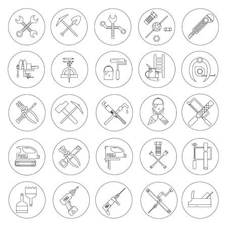 Line working  tools for construction, building and home repair 25 icons set. Vector illustration. Equipment and elements for design. Industrial style. Hand work tools collection.