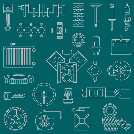 gasket: Line flat vector icon car parts set with undercarriage end internal combustion engine elements. Industrial. Cartoon style. Illustration and element for design. Monochrome. Auto service. Maintenance. Illustration