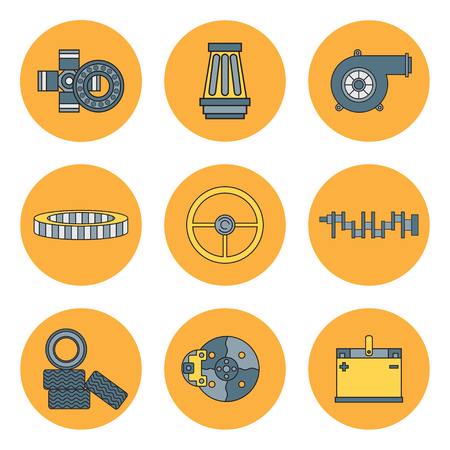 Line flat color vector icon car parts set with undercarriage end internal combustion engine elements. Industrial. Cartoon style. Illustration and element for design. Auto service. Maintenance. Illustration