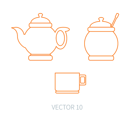 sugarbowl: Line flat vector kitchenware icons - teapot, sugar-bowl, cup. Cutlery tools. Cartoon style. Illustration and element for your design. Equipment for food preparation. Kitchen. Household. Cooking. Cook. Stock Photo