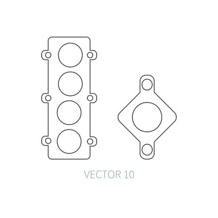 gasket: Line flat vector icon car repair part - gasket. Internal combustion engine elements. Industrial. Cartoon style. Illustration and element for your design. Monochrome. Auto service. Maintenance.