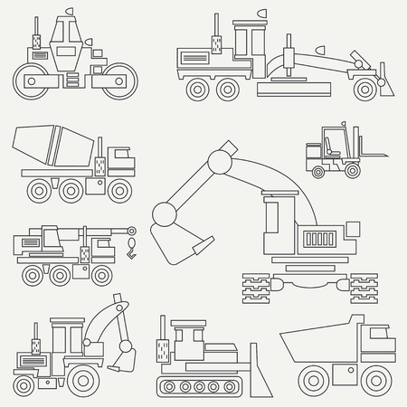 Line flat vector icon construction machinery set with bulldozer, crane, truck, excavator, forklift, cement mixer, tractor, roller and grader. Industrial style.