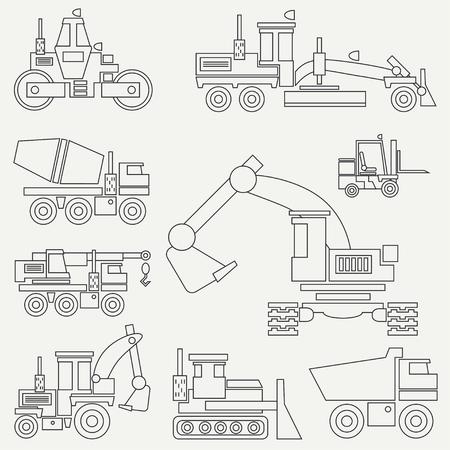 Machines de construction d'icône vector plate ligne avec bulldozer, grue, camion, pelle, chariot élévateur, bétonnière, tracteur, rouleau et niveleuse. Style industriel.