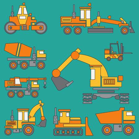 Ensemble de machines de construction ligne couleur vector icon avec bulldozer, grue, camion, excavatrice, chariot élévateur à fourche, bétonnière, tracteur, rouleau et niveleuse. Style industriel.