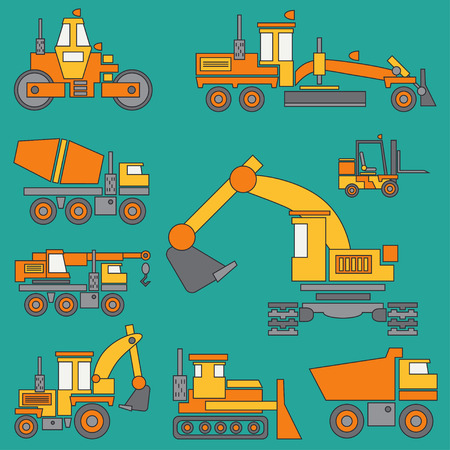 Line color vector icon construction machinery set with bulldozer, crane, truck, excavator, forklift, cement mixer, tractor, roller and grader. Industrial style.