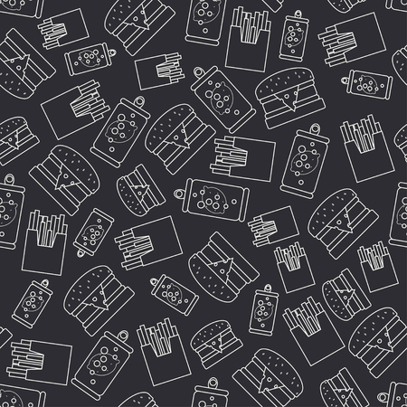 Abstract seamless background pattern in hipster style with fastfood elements - french fries, burger, drink. Vector illustration texture for your design, wallpaper.