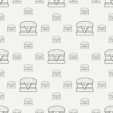 힙합 스타일 쏴 요소 - 햄버거에에서 추상 원활한 배경 무늬 패턴. 벡터 일러스트 레이 션 디자인을위한 텍스처 벽지.