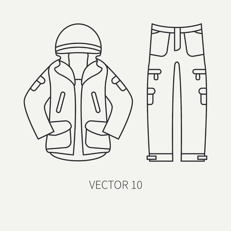 Line flat vector hunt and camping icon khaki jacket, pants. Hunter equipment. Retro cartoon style. Wildlife travel. Camouflage. Forest. Nature. Illustration and element for your design and wallpaper. Иллюстрация