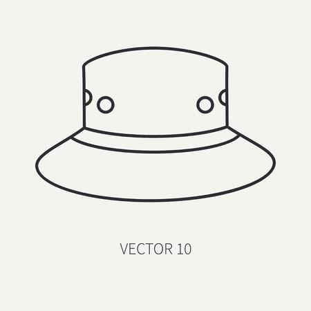 80713094 - Caza de vector plano de línea y sombrero de icono de camping b0a36615e89