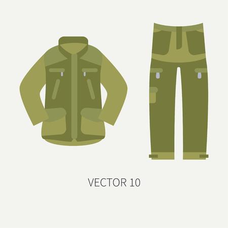Line tile color vector hunt and camping icon khaki jacket, pants set. Hunter equipment.