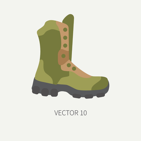 Line tile color vector hunt and camping icon - ankle boots. Hunter equipment, armament. Retro cartoon style. Wildlife travel. Camouflage. Forest. Illustration and element for your design, wallpaper.