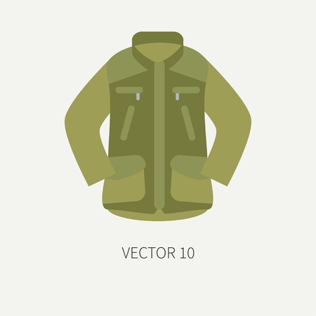Line tile color vector hunt and camping icon khaki jacket. Hunter equipment, armament. Retro cartoon style. Wildlife travel. Camouflage. Forest. Illustration and element for your design, wallpaper. Иллюстрация