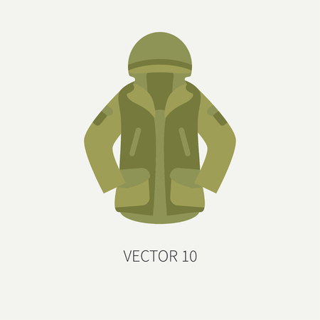 Line tile color vector hunt and camping icon khaki jacket. Hunter equipment, armament. Retro cartoon style. Wildlife travel. Camouflage. Forest. Illustration and element for your design, wallpaper. Illustration