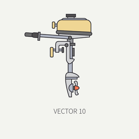outboard: Line flat color vector fisher and camping icon outboard motor. Fisherman equipment. Retro cartoon style. Holiday travel. Spinning. Boat. Nature. Illustration and element for your design and wallpaper.