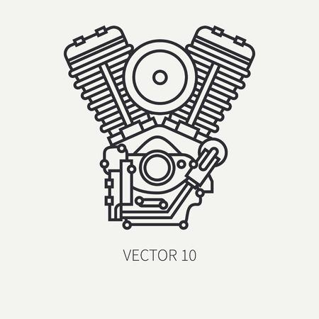 Line flat plain vector of a classic bike v-power motor Ilustração