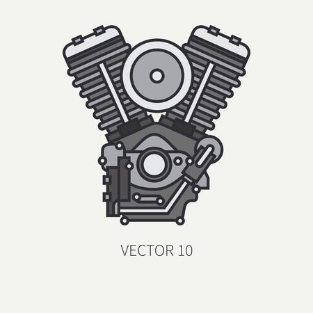 Line flat color vector of a classic bike v-power motor Ilustração