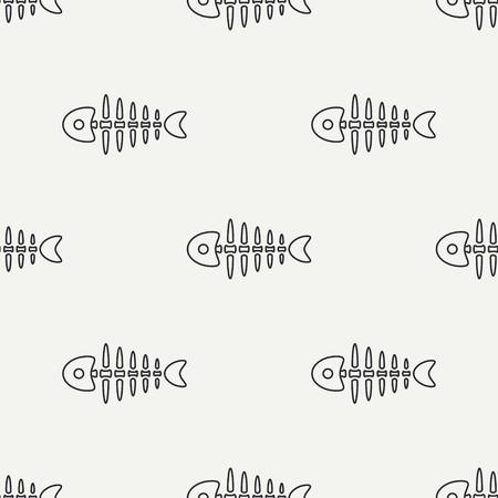 Flat line monochrome vector seamless pattern ocean fish bone, skeleton.