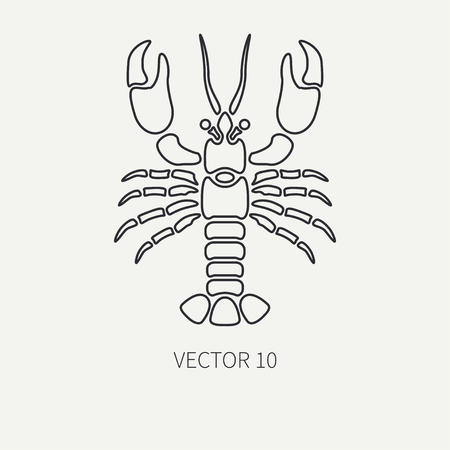 Line flat plain vector ocean fauna icon - lobster. Simplified retro. Cartoon style. Cancer. Omar. Seafood delicacy. Shell. Claw. Sea. Crustacean. Illustration and element for your design and wallpaper Banco de Imagens