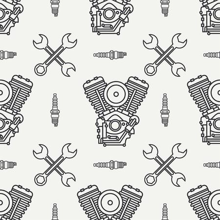 Line seamless pattern vector motorcycle classic bike v power motor, wrench. Legendary retro. Cartoon. Biker motoclub. Gasoline engine. Spark plug. Illustration, element for your design and wallpaper. Ilustração
