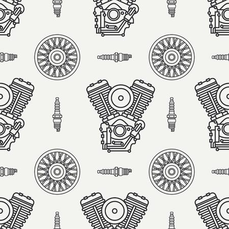 Line seamless pattern vector motorcycle classic bike v power motor, wheel. Legendary retro. Cartoon. Biker motoclub. Gasoline engine. Spark plug. Illustration, element for your design and wallpaper.