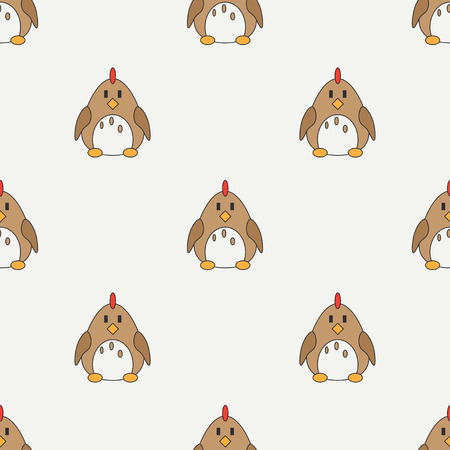 Flat line color vector seamless pattern cute animal for baby products - chicken. Cartoon style. Childrens doodle. Babyhood. Newborn. Vector illustration, element for your design, wallpaper. Kids. Farm