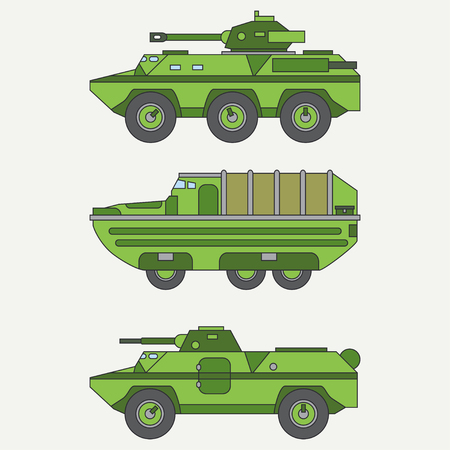 Line flat color vector icon set service staff open body diesel army truck. Military shell vehicle. Cartoon vintage style. Cargo transportation. Tow auto. Simple. Illustration and element for design. Illustration