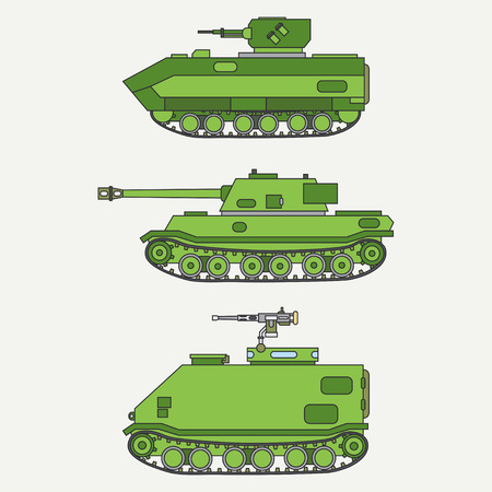Line flat color vector icon set infantry assault army tank. Military vehicle. Cartoon vintage style. Soldiers. Armored. Corps. Weaponry. Tow tractor unit. Simple. Illustration, element for your design.