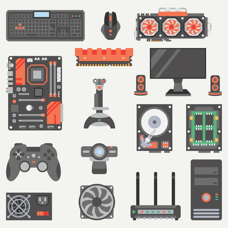 Flat color vector computer part icon set. Cartoon style. Digital gaming and business office pc desktop device. Innovation gadget technology. Internet. Illustration, element for your design, wallpaper.
