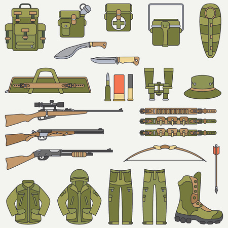 Line flat color vector hunt and camping equipment icon set. Hunter equipment, armament. Retro cartoon style. Wildlife travel. Camouflage. Forest. Nature. Illustration and element for design, wallpaper Illustration