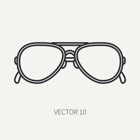 Line flat plain vector vintage fashion sunglasses icon. Summer adventure vacation.