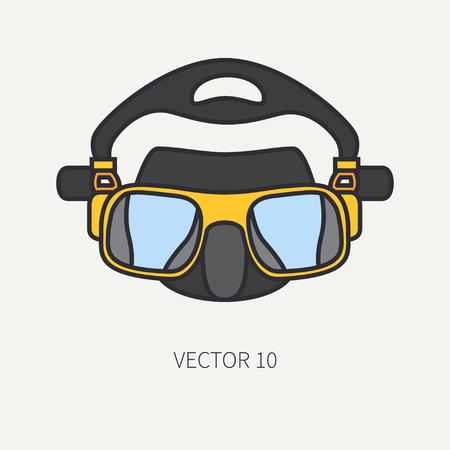 Line flat color vector diver underwater equipment icon diver mask. Summer adventure Illustration, element for your design and wallpaper. Illustration