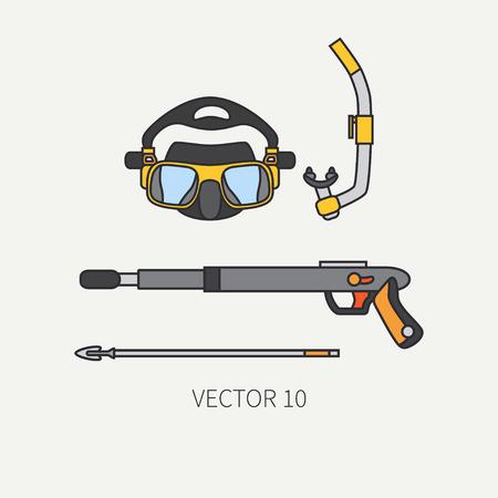 Line flat color vector diver underwater equipment icon diver mask, snorkel, harpoon gun. Retro. Ocean deep, sea beach. Summer adventure vacation. Scuba. Illustration, element for design and wallpaper.