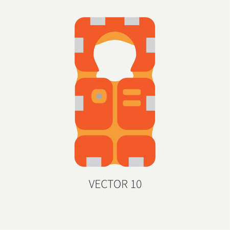 Plain flat color vector beach rescue equipment icon life jacket. Retro style. Ocean, sea beach. Protection, safety. Summer adventure vacation. Scuba. Illustration, element for your design, wallpaper. Illustration