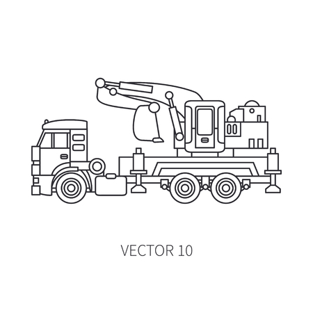 Line flat vector icon construction machinery truck excavator. Stock Illustratie
