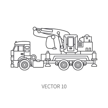 Line flat vector icon construction machinery truck excavator. Illustration