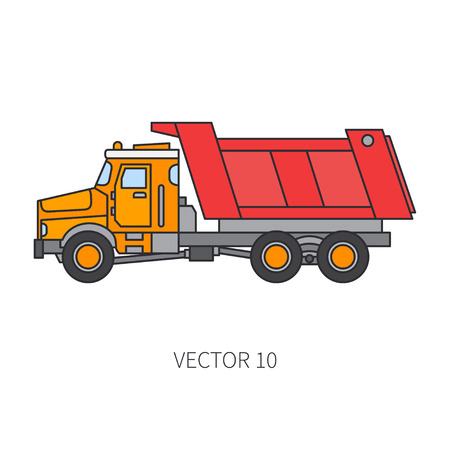 Color flat vector icon construction machinery truck tipper. Industrial style. Corporate cargo delivery. Commercial transportation. Building business. Engineering. Diesel power. Illustration for design.