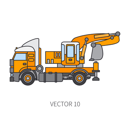 Color flat vector icon construction machinery truck excavator. Industrial style. Corporate cargo delivery. Commercial transportation. Building. Business. Engineering. Diesel. Illustration for design.
