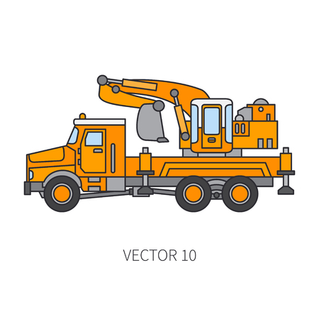 Color flat vector icon construction machinery truck excavator. Industrial retro style. Corporate cargo delivery. Commercial car transportation. Building. Business engineering. Power dig. Illustration.