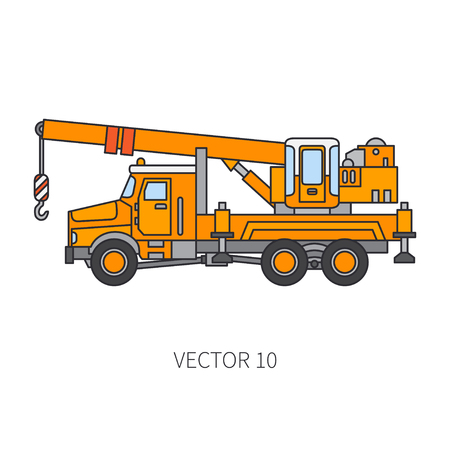 Color flat vector icon construction machinery truck auto crane. Industrial style, corporate cargo delivery lift, commercial transportation. Building, business, engineering, diesel illustration design.