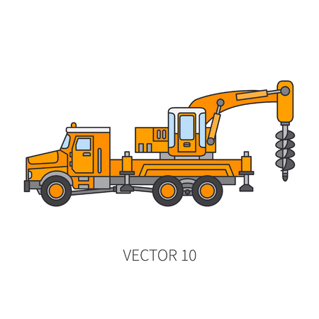 Color flat vector icon construction machinery truck boer, well. Industrial style. Corporate cargo delivery. Illustration