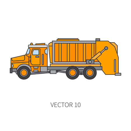 Colored flat vector icon  of construction machinery or garbage truck tipper. Industrial style, corporate cargo delivery, commercial transportation. Dump recycling business, diesel power illustration design.
