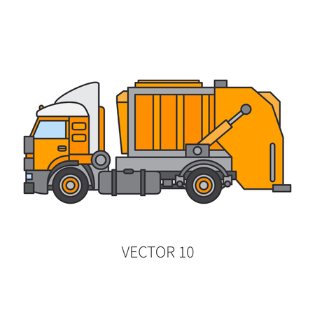 Color flat vector icon construction machinery garbage truck tipper. Industrial style. Illustration