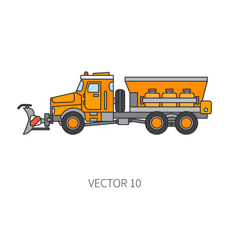 Color flat vector icon construction machinery snowplower truck tipper. Industrial style. Corporate cargo delivery. Snow remove shovel. Commercial transportation. Business. Diesel power. Illustration.