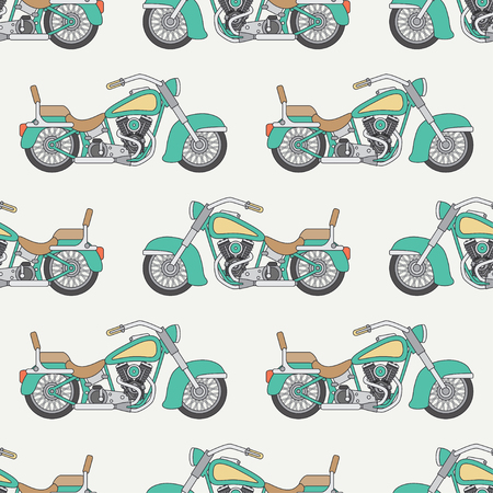 Flat line colored vector seamless pattern of motorbicyle