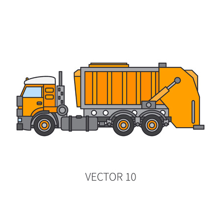 Color flat vector icon construction machinery garbage truck tipper industrial style. Corporate cargo delivery, commercial transportation, dump recycling. Business, diesel power illustration design.